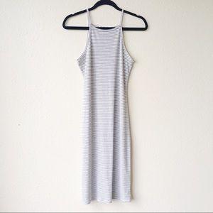 •Acemi Square Neck Striped Midi Dress